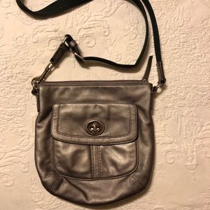 Coach Metallic Silver Adjustable Crossbody Bag!
